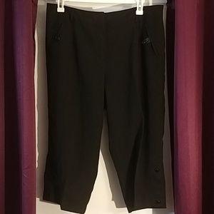 Larry Levine Stretch black wide leg dress pants18w